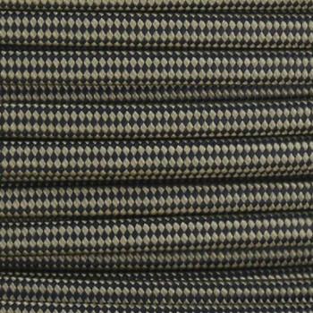 18/2 SPT1-B Gold/Black Diamond Nylon Fabric Cloth Covered Lamp and Lighting Wire