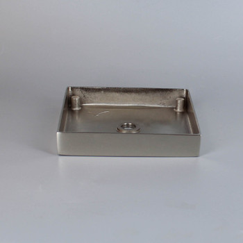1/8ips Center Hole - 4in Square Cast Brass Canopy/Base - Polished Nickel