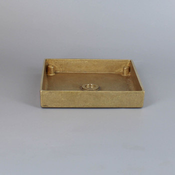 1/8ips Center Hole - 4in Square Cast Brass Canopy/Base - Unfinished Brass