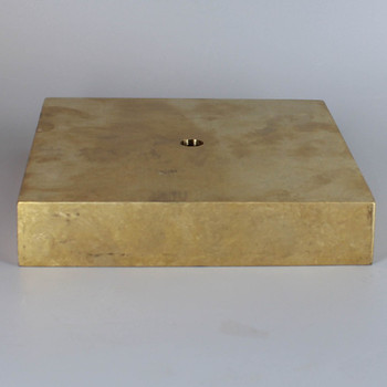 1/8ips Center Hole - 6in Square Cast Brass Canopy/Base - Unfinished Brass