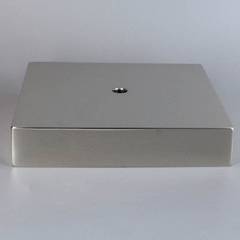 1/8ips Center Hole - 6in Square Cast Brass Canopy/Base - Polished Nickel