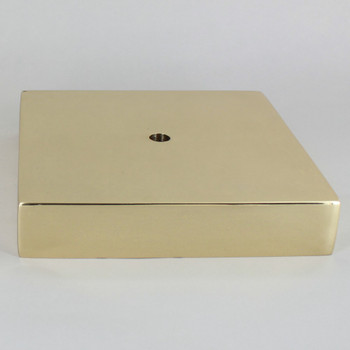 1/8ips Center Hole - 6in Square Cast Brass Canopy/Base - Polished Brass
