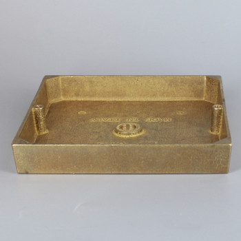 1/8ips Center Hole - 5in. Square Cast Brass Canopy/base - Unfinished Brass