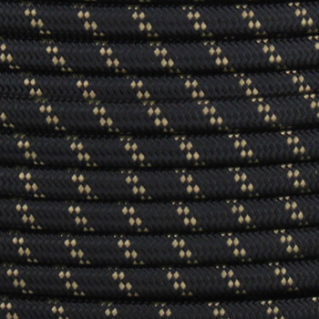 18/2 SPT1-B Black with Gold 2 Line Pattern Nylon Fabric Cloth Covered Lamp and Lighting Wire
