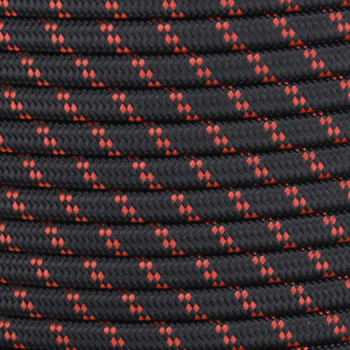 18/2 SPT1-B Black with Burnt Orange 2 Line Pattern   Fabric Cloth Covered Lamp and Lighting Wire