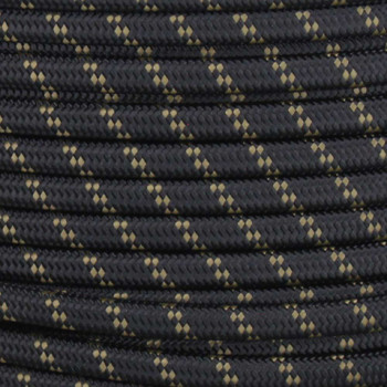 18/2 SPT1-B Black with Mojave 2 Line Pattern Nylon Fabric Cloth Covered Lamp and Lighting Wire