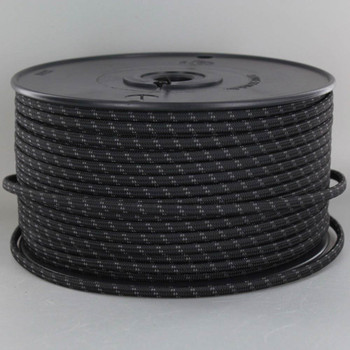 18/2 SPT1-B Black with Gray 2 Line Pattern Nylon Fabric Cloth Covered Lamp and Lighting Wire