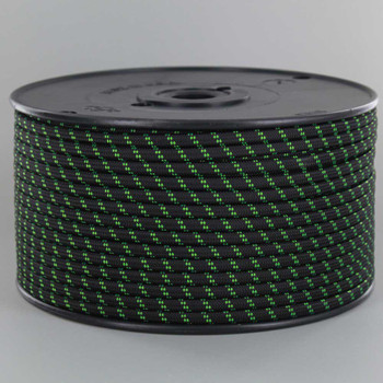 18/2 SPT1-B  Black with Neon Green 2 Line Pattern Nylon Fabric Cloth Covered Lamp and Lighting Wire