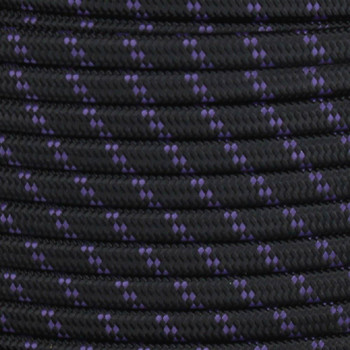 18/2 SPT1-B Black with Purple 2 Line Pattern Nylon Fabric Cloth Covered Lamp and Lighting Wire