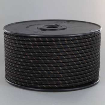 18/2 SPT1-B Black with Brown 2 Line Pattern Nylon Fabric Cloth Covered Lamp and Lighting Wire