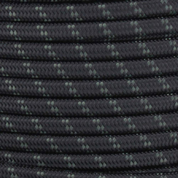 18/2 SPT1-B Black with Forest Green 2 Line Pattern Nylon Fabric Cloth Covered Lamp and Lighting Wire