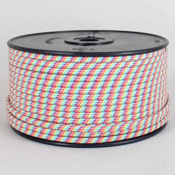 18/2 SPT-1 Rainbow Pattern Nylon Over Braid White 105 Degree Wire