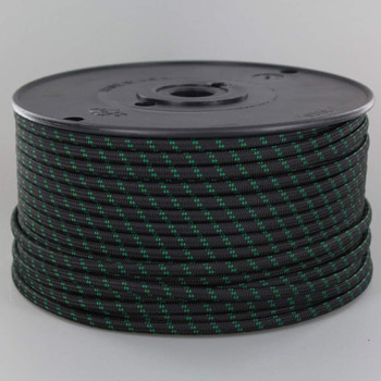 18/2 SPT1-B Black with Green 2 Line Pattern Nylon Fabric Cloth Covered Lamp and Lighting Wire
