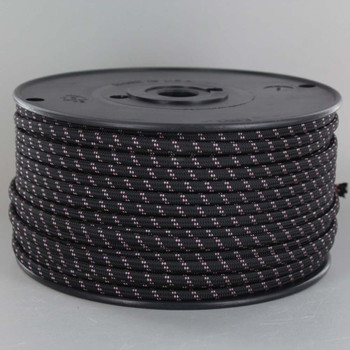 18/2 SPT1-B Black with Pink 2 Line Pattern Nylon Fabric Cloth Covered Lamp and Lighting Wire