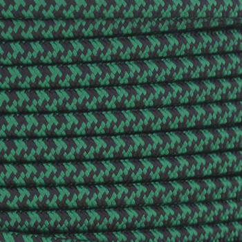 18/2 SPT2-B Black/Green Hounds Tooth Pattern Nylon Fabric Cloth Covered Lamp and Lighting Wire