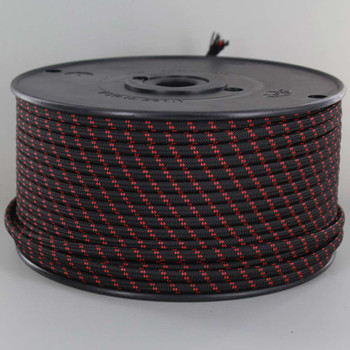 18/2 SPT1-B Black with Red 2 Line Pattern Nylon Fabric Cloth Covered Lamp and Lighting Wire