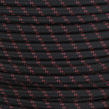 18/2 SPT1-B Black with Burgundy 2 Line Pattern Nylon Fabric Cloth Covered Lamp and Lighting Wire