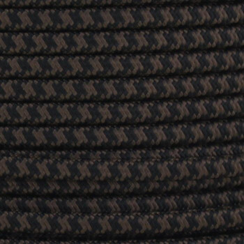 18/2 SPT2-B Black/Brown Hounds Tooth Pattern Nylon Fabric Cloth Covered Lamp and Lighting Wire