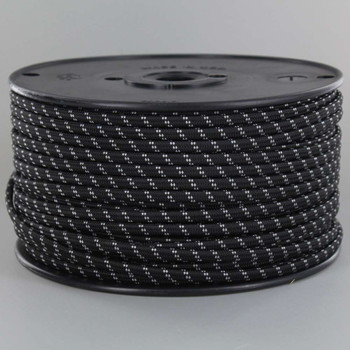 18/2 SPT1-B  Black with White 2 Line Pattern Nylon Fabric Cloth Covered Lamp and Lighting Wire
