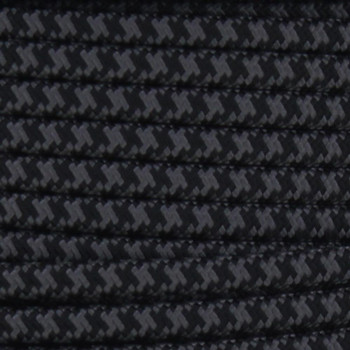18/2 SPT2-B Black/Gray Hounds Tooth Pattern Nylon Fabric Cloth Covered Lamp and Lighting Wire