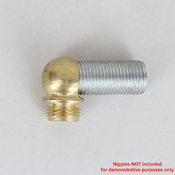 1/8ips Threaded - 1/2in Diameter 90 Degree Ball Armback - Unfinished Brass