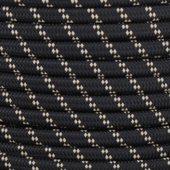 18/2 SPT2-B  Black with Beige 2 Line Pattern Nylon Fabric Cloth Covered Lamp and Lighting Wire
