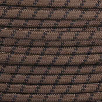 18/2 SPT2-B Brown with Black 2 Line Pattern Nylon Fabric Cloth Covered Lamp and Lighting Wire