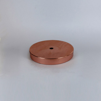 1/8ips Center Hole - 5in Flat Canopy/Base without Wire Way - Polished Copper