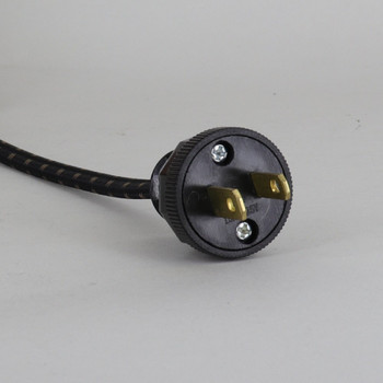 12ft. Long 18/2 SPT-2-B Black/Brown 2 Tic Tracer Cloth Braided Wire Lamp Cordset