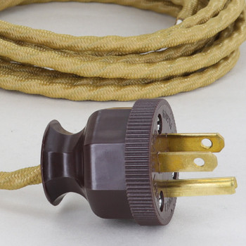 10ft. Gold 18/3 SPT-1 Bungalow Style Twisted Cloth Overbraid Cordset With Antique Plug