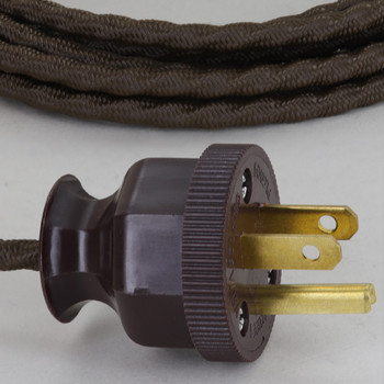 10ft. Bark 18/3 SPT-1 Bungalow Style Twisted Cloth Overbraid Cordset With Antique Plug