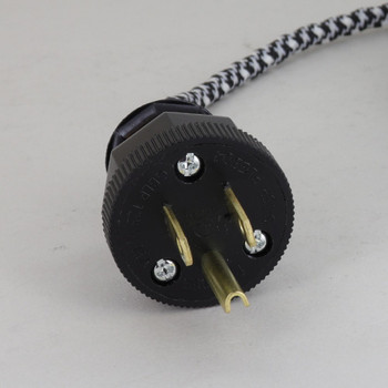 10ft. Black/White Hounds Tooth 18/3 SPT-1 Bungalow Style Twisted Overbraid Cordset With Antique Plug