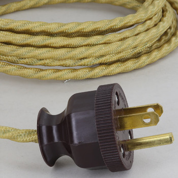 10ft. Spun Gold 18/3 SPT-1 Bungalow Style Twisted Cloth Overbraid Cordset With Antique Plug