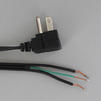 10ft. Black 18/3 SPT-2 Flat Plug Cordset with Tinned Ends and 3-Prong Grounded Molded Plug