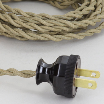 12ft. Antique Gold Twisted Two Conductor Wire Cordset with Antique Style Plug