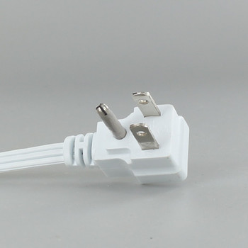10ft. White 18/3 SPT-2 Flat Plug Cordset with Tinned Ends and 3-Prong Grounded Molded Plug