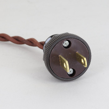 12ft. Copper Twisted Two Conductor Wire Cordset with Antique Style Plug