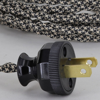 12ft. Black/Beige Houndstooth Twisted Two Conductor Wire Cordset with Antique Style Plug