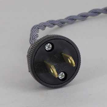 12ft. Black/White Diamond Pattern Twisted Two Conductor Wire Cordset with Antique Style Plug
