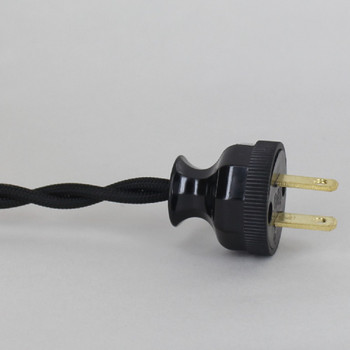 8ft Long Black Twisted 18/2 SPT-2 Type UL Listed Powercord WITH BLACK PHENOLIC PLUG