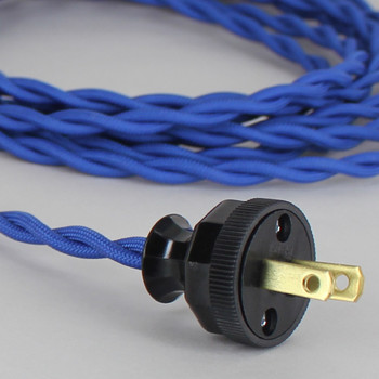 8ft Long Blue Twisted 18/2 SPT-2 Type UL Listed Powercord WITH BLACK PHENOLIC PLUG