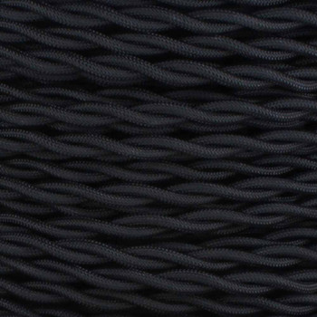 12ft Long Black Twisted 18/2 SPT-2 Type UL Listed Powercord WITH BLACK PHENOLIC PLUG