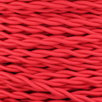 10ft Long Red Twisted 18/2 SPT-2 Type UL Listed Powercord with Black Phenolic Plug