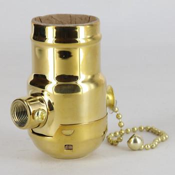 E-26 Standard Base 90 Deg Angle Mount Pull Chain Switch Lamp Socket - Brass Plated