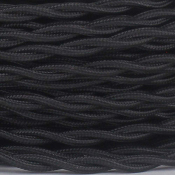 18/2 Twisted Black Rayon Covered Wire