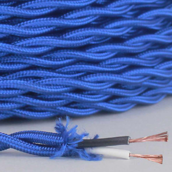 18/2 Twisted Blue Rayon Covered Wire