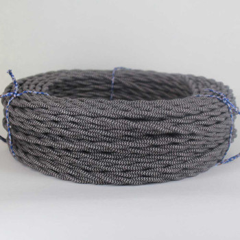 18/2 Twisted Black/Steel Zig-Zag Pattern Cotton Cloth Covered Wire