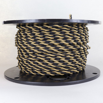 18/2 AWG SPT-1 Type - Black/Gold - UL Recognized Cloth Covered Twisted Wire.
