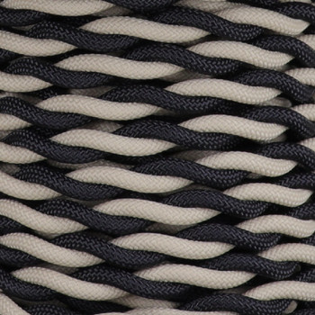 18/2 AWG SPT-1 Type - Black/Beige - UL Recognized Cloth Covered Twisted Wire.