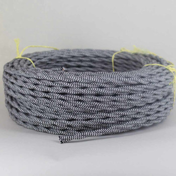 18/2 Twisted Black/White Zig-Zag Pattern Cotton Cloth Covered Wire